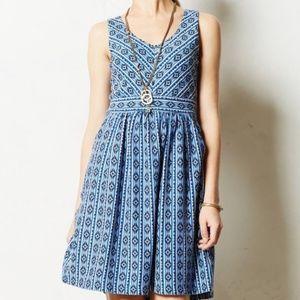 NWOT Anthropologie Maeve Lazuli Diamond Dress 10